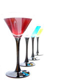 Cocktails. Assorted cocktails in martini glasses Royalty Free Stock Images