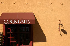Cocktails. A cocktails sign at an Italian restaurant stock images