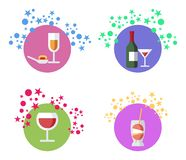 Cocktails, Alcohol Beverages Illustrations Set vector illustration