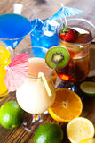 Cocktails, alcohol drinks with fruits Stock Photography