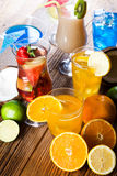 Cocktails, alcohol drinks with fruits Royalty Free Stock Photography