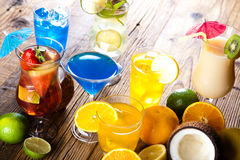 Cocktails, alcohol drinks with fruits Royalty Free Stock Photo