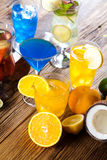 Cocktails, alcohol drinks with fruits Stock Photo