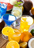 Cocktails, alcohol drinks with fruits Royalty Free Stock Image