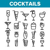 Cocktails, Alcohol and Soft Drinks Linear Icons Set stock illustration