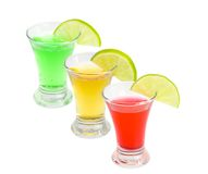 Cocktails alcoholic with a lime. On the white isolated background Royalty Free Stock Images