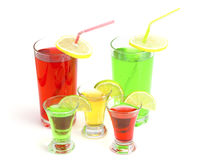 Cocktails alcoholic with a lime. On the white isolated background stock images