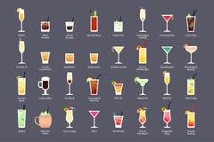 Cocktails alcooliques, classiques officiels de contemporain de cocktails d'IBA Les icônes ont placé dans le style plat sur le fon illustration de vecteur