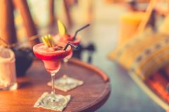 Cocktails background for summer party concept or relaxing cocktail bar design. Two cocktails on blurred background. Summer vacation holiday or honeymoon stock image
