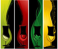 Cocktails banners. Four vertical banners with cocktail glasses Stock Photo