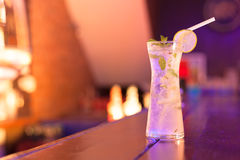 Cocktails on the bar counter in night club Stock Images