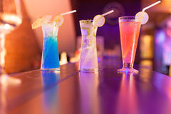 Cocktails on the bar counter in night club Stock Image