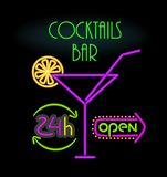 Cocktails Bar Open 24 Hours Vector Illustration. Cocktails bar open 24 hours, neon signs with glass and straw, slice of lemon and headlines with information Royalty Free Stock Photo