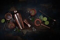 Free Cocktails, Bar Or Pub Background With Shaker And Utensils Royalty Free Stock Photography - 210309237