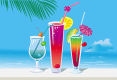 Cocktails on the beach Stock Photos