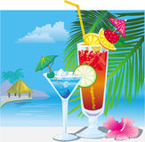 Cocktails on the beach Stock Images