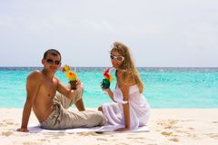 Cocktails at the beach stock image