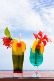 Cocktails at the beach Stock Photos
