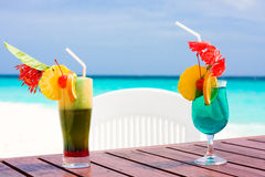 Cocktails at the beach Stock Photo