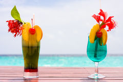 Cocktails at the beach Stock Photography