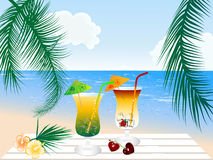 Cocktails on the beach Royalty Free Stock Image