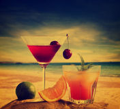 Cocktails on the beach Stock Image