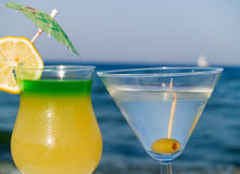 Cocktails at the Beach Stock Images
