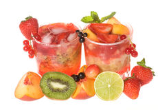Cocktails with berries and fruits Stock Images