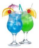 Cocktails bleus et verts Photographie stock libre de droits