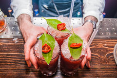 Three Bloody Mary Cocktails royalty free stock images