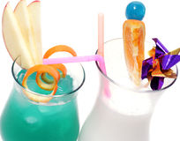 Cocktails - Blue Hawaii and Pina Colada Royalty Free Stock Photo