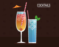 Cocktails blue and mimosa black background Royalty Free Stock Photo