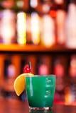 Cocktails collection - Blue Whale. Ingredients: 1 part vodka 1 part Blue Curacao liqueur 1 part orange juice 1 part pineapple juice 1 part sweet and sour mix stock photos