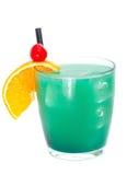 Cocktails collection - Blue Whale. Ingredients: 1 part vodka 1 part Blue Curacao liqueur 1 part orange juice 1 part pineapple juice 1 part sweet and sour mix royalty free stock photo