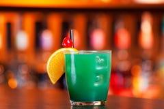 Cocktails collection - Blue Whale. Ingredients: 1 part vodka 1 part Blue Curacao liqueur 1 part orange juice 1 part pineapple juice 1 part sweet and sour mix royalty free stock photography