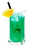 Cocktails collection - Blue Whale. Ingredients: 1 part vodka 1 part Blue Curacao liqueur 1 part orange juice 1 part pineapple juice 1 part sweet and sour mix stock image