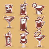 Cocktails collection. Vector collection, illustration of cocktails and drinks royalty free illustration
