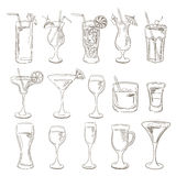 Cocktails collection. Vector Set of Sketch Cocktails and Alcohol Stock Photography