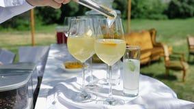 Cocktails con Agrumi e Ghiaccio per una festa di compleanno o di matrimonio stock footage
