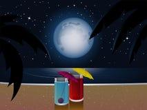 Cocktails d'été par clair de lune Photographie stock