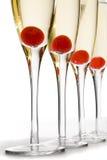 Cocktails de Champgane de cerise Photographie stock libre de droits