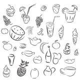 Cocktails de griffonnages et desserts, fruits, café, alcool, barre, drin Image stock