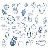 Cocktails de griffonnages et desserts, fruits, café, alcool, barre, drin Images stock