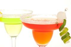 Cocktails de margarita de limette et de fraise Photographie stock libre de droits