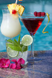 Cocktails de Poolside Images stock