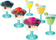 Cocktails and desserts. Royalty Free Stock Images