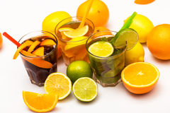 Cocktails with different citrus fruits Stock Photography