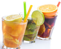 Cocktails with different citrus fruits Stock Photo