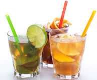 Cocktails with different citrus fruits Royalty Free Stock Photos