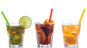 Cocktails with different citrus fruits Stock Images